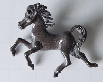 Vintage figural enamel horse pin or brooch dappled gray equestrian western animal jewelry