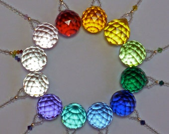 """Crystal Fan Pull, Light Pull or Suncatcher, Swarovski Crystal 30mm Ball (Choose From 14 Colors) - """"SIMPLICITY"""""""
