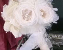 Burlap Wedding Bouquet Vintage Inspired  Ivory with Tan and Cream Burlap Custom Order any color