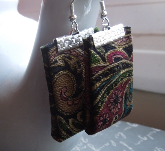 Floral Black Bohemian Repurposed Fabric Textile Earrings