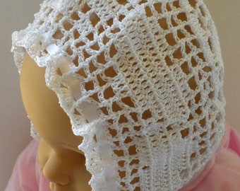 Crocheted Baby Bonnet, Baby Girl Bonnet, Christening Bonnet, Blessing Bonnet, Baby Crochet, Photo Prop Bonnet, Heirloom Baby Bonnet