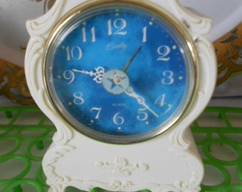 Vintage Wind Up small clock Bradley Alarm Clock White with Blue has Shabby Chic look