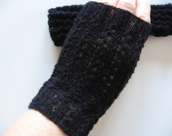 Black Lacy Texting Keyboarding Hand Knit Fingerless Gloves