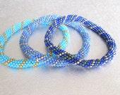 beadwork stackable bracelet blue bead beaded jewelry blue roll on bangle
