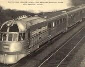 Vintage1930's The Flying  Yankee Boston to Bangor Railroad Train Postcard