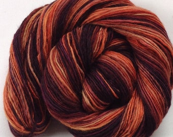 Handspun worsted dk weight single yarn  3.8 Ozs 310yards Corriedale Ginger and Plum
