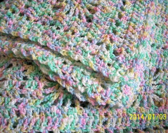"""baby or toddler size hand crochet afghan 40"""" by 44"""" pastel sparkle acrylic yarn"""