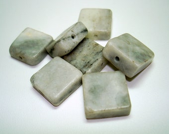 Grey Marble Flat Square Stone Beads (Qty 7) - B2464