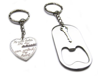 Key to My Heart Bottle Opener Couple's Keychain