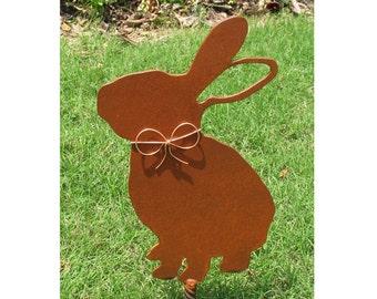 Rabbit Bunny Metal Garden Stake - Metal Yard Art - Metal Garden Art - Pet Memorial