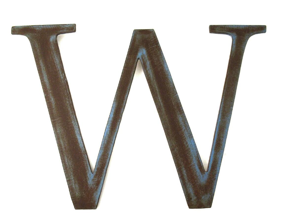 M tal lettre w signe rustic metal lettre par georgiametalart - Lettre decorative metal ...