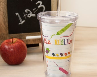 Teacher Gift - Personalized Acrylic Tumbler - Crayon Teacher