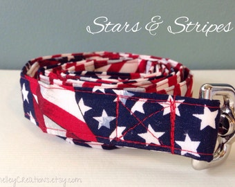 Patriotic Dog Leash // American Flag Dog Leash // Red White Blue Dog Leash // Stars and Stripes Dog Leash // July 4 Dog Leash