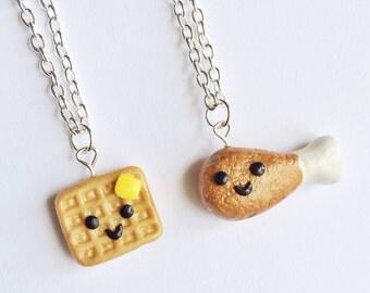 Best Friend, Best Friend Necklaces, Clay Best Friend Necklaces, Friend Necklaces, Chicken and Waffle Best Friend Necklaces