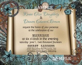 Vintage Steampunk Wedding Invitations