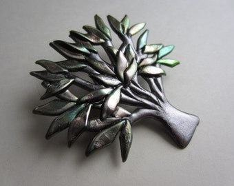 Tree pin with iridescent  leaves brooch pin