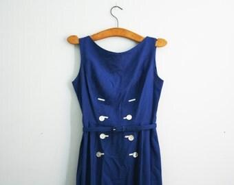 vintage 60s Button Front Cobalt Blue Dress Ladies Day Dress // Majorette Halloween Costume