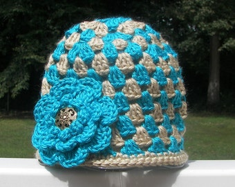 Teal and Tan Toddler Girl Hat with Teal Flower - Granny Square Crochet - Size 1-2 - Ready to Ship - Smoke Free - Cute Photo Prop