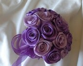 Satin rose wedding bouquet in Orchid and Grape wine