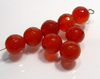 CLOSE OUT SALE: 48 Red Agate Faceted Round Gemstone Beads...8mm