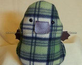 Green and Cream Plaidypus Plaid Platypus Platypi Plush by Nightengale Needles