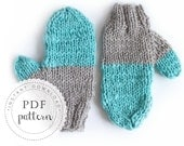 PDF pattern ARTIC mittens trendy chunky cozy gloves