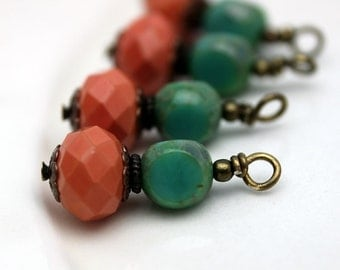 Coral Multifaceted Rondelle Crystal and 3 Sided Turquoise Czech Bead Dangle Charm Drop Set