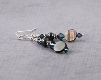 Seashell Earrings Black Lip Shell Jewelry Blue Crystal Jewelry Black Pearl Earrings Natural Seashell Jewelry Summer Fashion Beach Jewelry