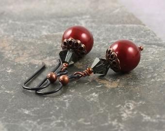 Burgundy Wedding Pearl Earrings Oxblood Earrings Goth Copper Earrings Hypoallergenic Earrings Smoke Glass Earrings Cranberry Jewelry