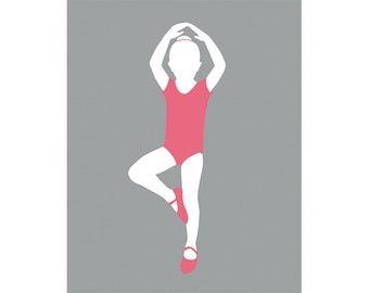 Ballerina Art,  little girl art, ballerina NURSERY, dance artwork 8 x 10 print - available in different sizes and colors.