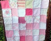 OOAK Vintage Chenille rag Patchwork Quilt Pinks