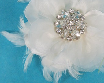 Ivory Organza and Satin Feather Rose Hair Clip D125 - bridal hair wedding accessory