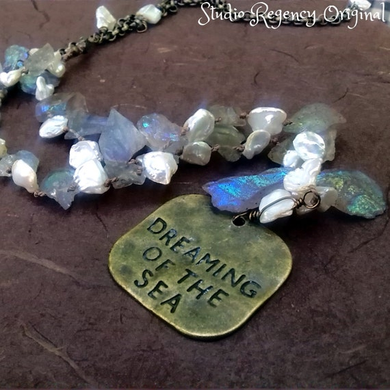The Selkie's Dream Necklace - Pearl and Gemstone Necklace - Dreaming of the Sea Necklace - Keishi Pearl Necklace - Beach Necklace - Ocean