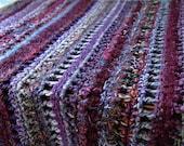 Purple, Maroon, Dark Pink, Crocheted, Afghan, Blanket, Openwork, Handmade, Throw