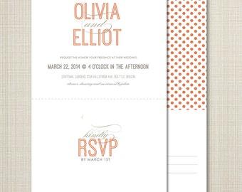 custom wedding invitations, modern wedding invitation, dots wedding invitation with tear off rsvp postcard - clean.