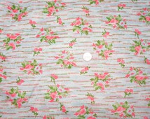 Psychedelic Vintage Slinky Poly Floral Dress Fabric Roses Broken Dotted Lines Pink Green Blue White
