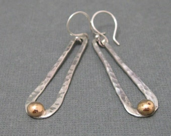Long Loop Sterling Hammered Earrings with 14kt gold filled accent, Mixed metal Artisan Earrings Handmade Jewelry