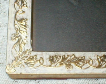 White Metal Picture Frame Raised Gold Embossing Vintage Wall Decor