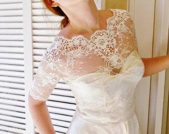 CAMILLA bridal lace top WHITE lace top white lace blouse bridal bolero jacket wedding bolero by angelika liv