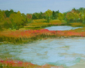 Warner's Pond, Concord, MA autumn day - original fine art, decor, acrylic landscape painting - Irene Stapleford - wantknot shop