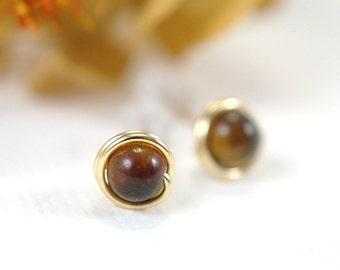 Tiny tiger eye post earrings 14k gold filled wire wrapped stud earrings small brown earrings mini earring second piercing 5mm gemstone small