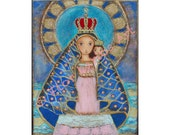 Our lady of El Cobre - Our Lady of Charity - Reproduction from Painting by FLOR LARIOS (8 x 10 Inches Print)