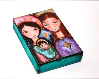 Nativity Stars - Giclee print mounted on Wood (5 x 7 inches) Folk Art  by FLOR LARIOS