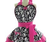 Retro Apron - Hot Pink Parisian Womans Aprons - Vintage Apron Style - Damask Pin up Rockabilly Cosplay Costume