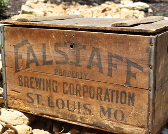 Vintage Falstaff Wooden Beer Case Box Gresideck Brothers Breweriana Beer Crate