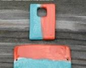 SALE Handmade Pottery Beads 2 piece set in Tutu Tango Orange and Aqua