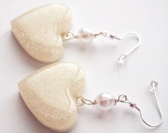 Glitter and Pearl Hearts Silver Filled Dangle Earrings - Cute Love Sweet