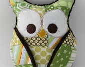 Plush Owl Pillow - patched owl- minky - green