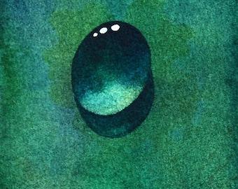 Emerald Dew Drop an Original Watercolor Painting aceo