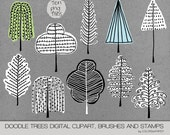 Tree Doodles Pk. 3 Digital Clipart, Photoshop Brushes and Stamps.  Instant Download. Personal, Limited Commercial Use.
